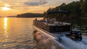 Veranda LuxurY Pontoon riding into sunset